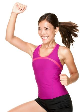 エアロビクス ズンバ エアロビクス フィットネス女性 zumba ダンス トレーニング移動笑みを浮かべて新鮮なエネルギーと幸せを行います。美しい多民 写真素材