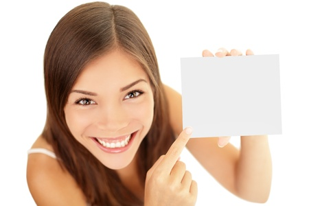 Gift card woman isolated on white background.  Foto de archivo