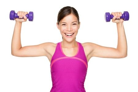 Fitness vrouw gewichtheffen lachende gelukkige geïsoleerd op een witte achtergrond.