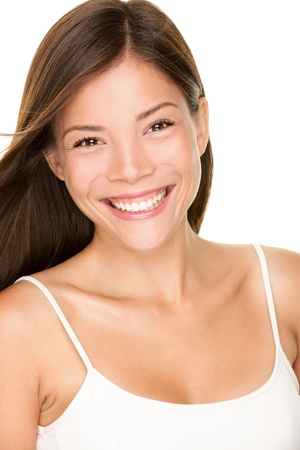 Beautiful young asian woman beauty portrait of gorgeous smiling happy and joyful multiracial Caucasian. photo