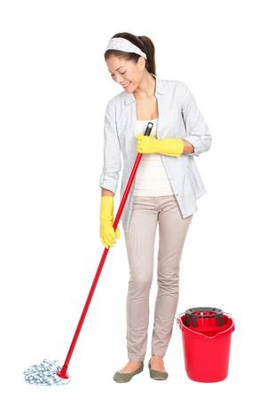 dweilen: Spring schoonmaakster reinigen vloer met een mop. Stockfoto