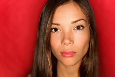 Asian beauty woman closeup portrait of fashion model.  photo