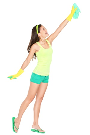 Woman cleaning standing full body isolated on white background.  Standard-Bild
