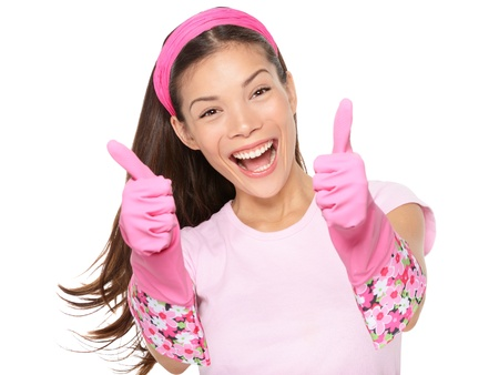 Cleaning woman happy excited showing thumbs up success hand Stock Photo