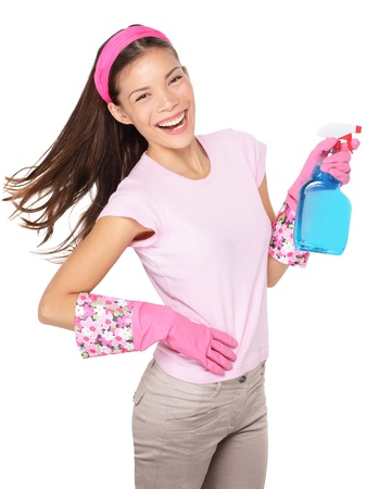 Spring cleaning  Cleaning woman pointing cleaning spray bottle shooting happy and smiling  Beautiful cleaning girl isolated on white background  Mixed race Caucasian   Asian Chinese woman having fun during spring cleaning