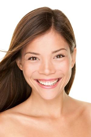 Asian woman beauty portrait  Skin care face closeup of beautiful happy mixed race Asian Chinese   Caucasian female beauty model brunettte