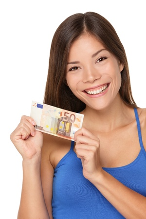 Woman showing euro money 50 bill. Multicultural girl smiling happy and fresh isolated on white background. photo