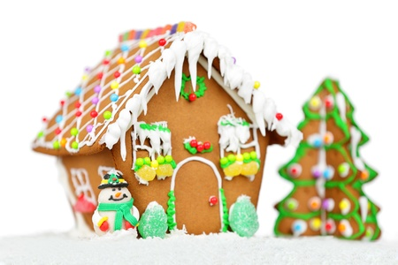 Gingerbread house for christmas isolated on white background  Foto de archivo