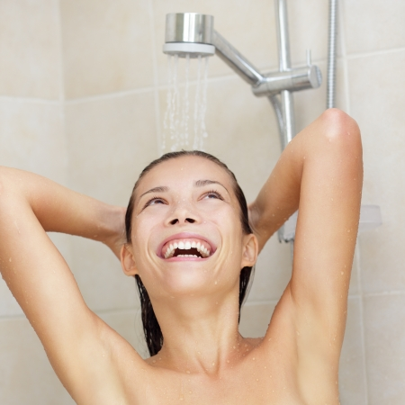 An Asian Chinese  Caucasian female model at home in bathroom  photo