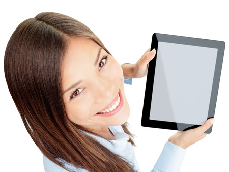 Tablet woman  Woman holding tablet computer touch pad with copy space isolated on white background  Beautiful mixed-race Asian Chinese   Caucasian female business woman
