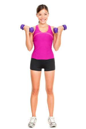 Sport fitness woman standing in full body  Fitness instructor standing holding dumbbell hand weights isolated in full body on white background in studio  Beautiful young mixed race Asian Caucasian female fitness model  Stock Photo - 16637283