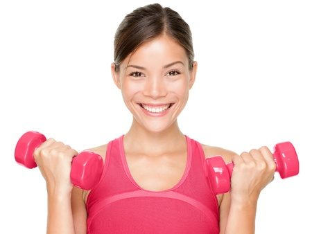 Fitness woman happy holding dumbbell weights smiling isolated on white background  Beautiful multicultural mixed race Asian Caucasian female sport fitness model