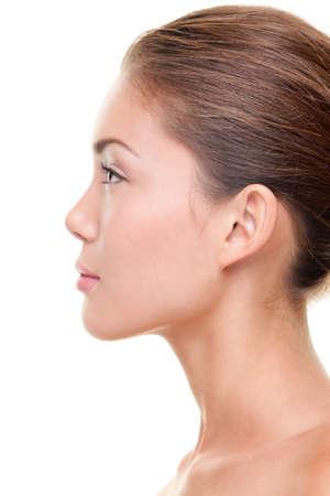 boca sana: Belleza natural retrato de mujer de perfil