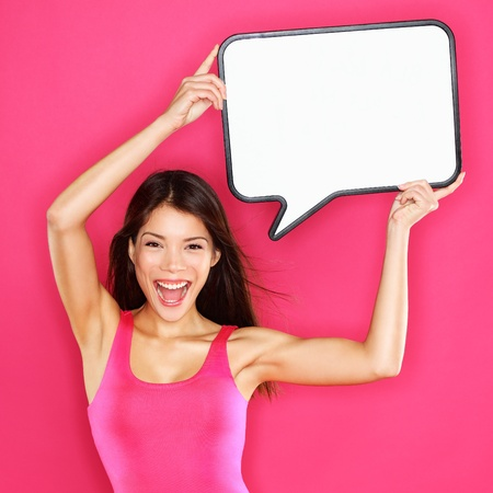 Woman showing sign speech bubble  photo