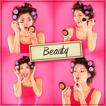 putting up: Beauty woman makeup concept collage series  Stock Photo