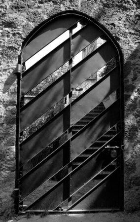 Metal door in a european city photo