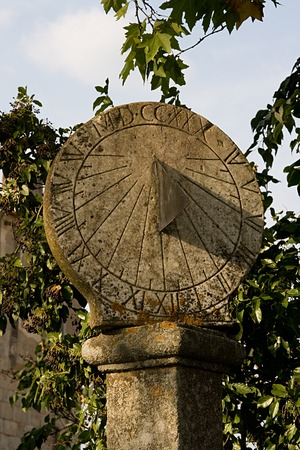 acute angle: Ancient sundial in Coimbra, Portugal