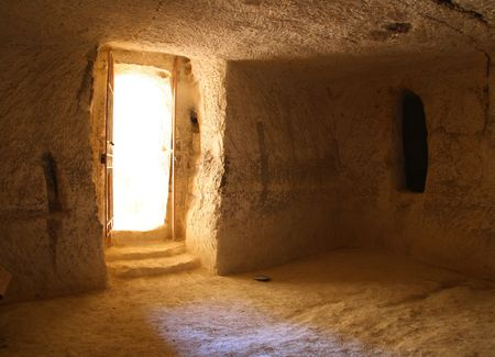 Reconstructed byzantine house in Avdat, Israel photo