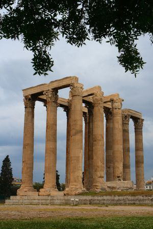 A view of columns on ruins near the Athens archeological site photo