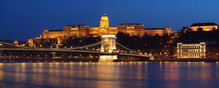 Chain bridge of Budapest at night photo
