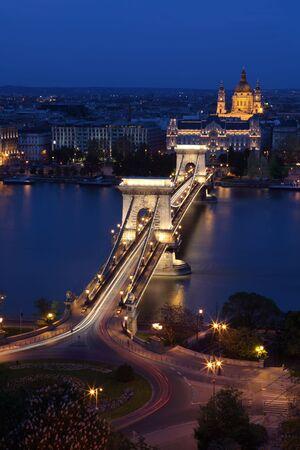 Budapest - St. Stephen Basilica  at evening photo
