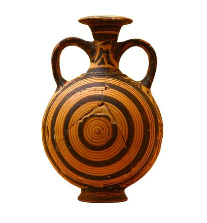 antique vase: Decorated greek vase isolated on white background