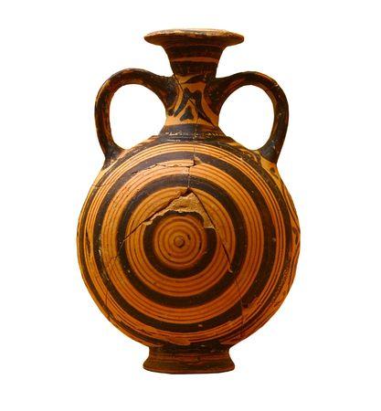vasi greci: Decorato vaso greco isolato su sfondo bianco Archivio Fotografico