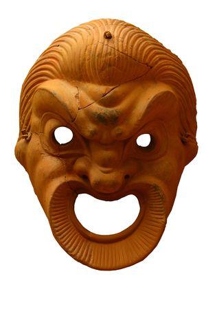 Antique greek mask isolated on white photo