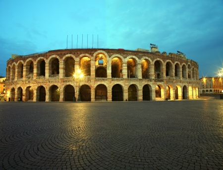 Ancient roman amphitheatre Arena in Verona, Italy at night  photo