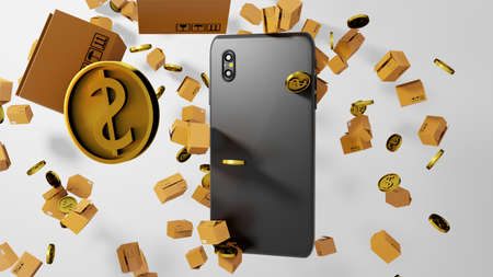 8K 3D render Smartphone's Back View with Parcels and Golden Coins Falling down all over the Screen Background Reklamní fotografie
