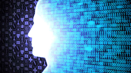 AI Computing and Thinking Medical Technology HUD including Binary Code with Head Shape Background Ver.3