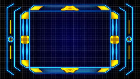 Monitoree el borde de la pantalla con detalles de elementos digitales naranja-azul y fondo de cuadrícula