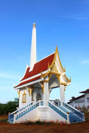 crematorium: Bangkok, Thailand - October 26, 2014: Crematorium with blue sky background in the Thai temple