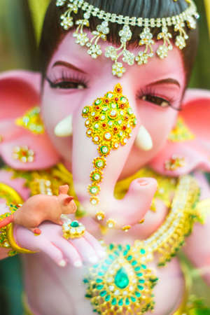 Chachoengsao, Thailand - October 20, 2016: Large Ganesha, Hindu God in Thailand, Son of Shiva God, Wat Saman Temple. Editorial