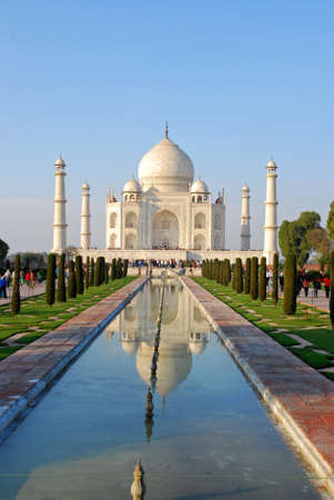 Agra, India - February 12, 2006: Taj mahal , A famous historical monument, A monument of love, the Greatest White marble tomb in India, Agra, Uttar Pradesh