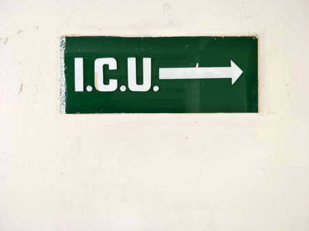 ICU : Intensive care unit for critical patients - Information plate at the door in the Hospitalization. Stock Photo