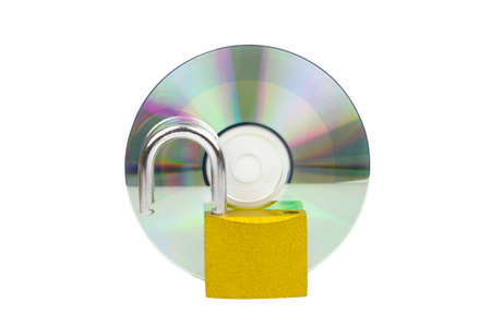 CD-ROM with Unlocked protecting data security concept on white background with cipping path. Stock Photo