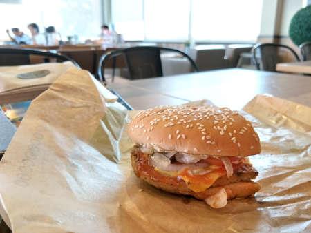 Hamburger  on the table.