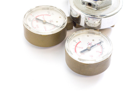 Gas Pressure Regulators in a laboratory analytical equipment on a white background.