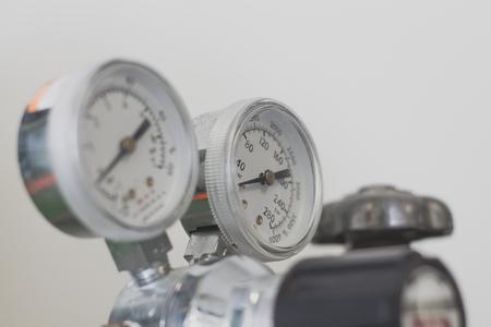 Pressure gauge on a gas regulator.