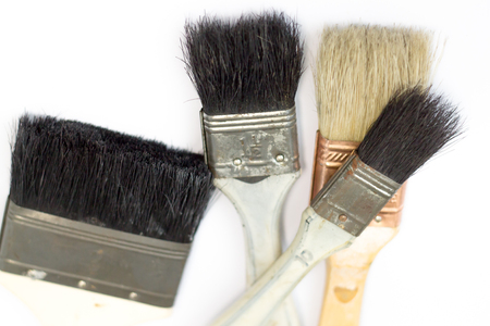 Paint brush with the wooden handle. Imagens