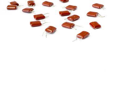 Many electronic resistor on white Archivio Fotografico