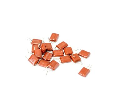 many electronic resistor on white background, Resistors in electronic lab