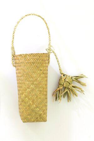 Lepironia articalata (Krajood) or Sedge handmade bag on white Archivio Fotografico