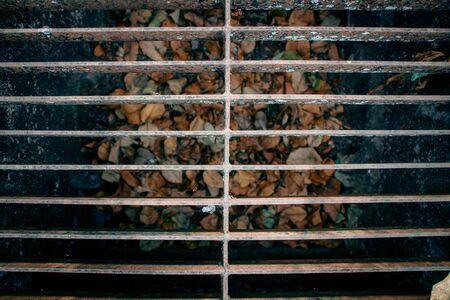 Closeup of Steel Grating Manhole Cover.