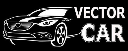 illustration of a black and white logo with the image of a car