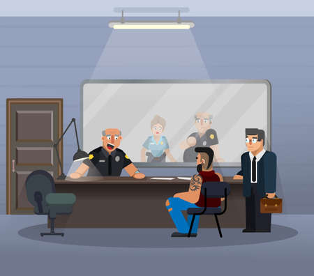 Vector illustration in a flat style, room for questioning a suspect in a police station. The scene of the work of the officers of the department of inquiries, with the participation of a policeman, a suspect, a lawyer. Illustration