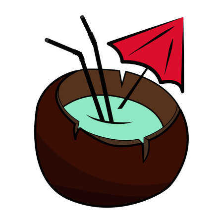 freshens: Coconut Cocktail with umbrella and straw. Vector design illustration