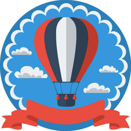 adventure story: Hot air balloon in the sky vector. Illustration. Background. Greeting card. Poster template