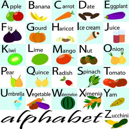 comida inglesa: El alfabeto del, mayúsculas con frutas y verduras ornamento. Alfabeto para los niños con frutas y verduras. Volver a la escuela. Aprender el alfabeto alimentos Inglés. Tarjetas de ABC. Vectores